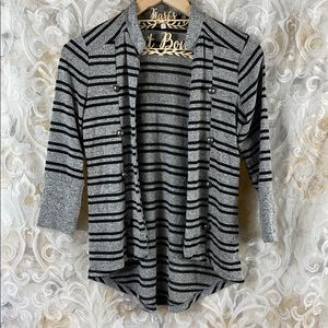 Maurices Gray Black striped open cardigan Small